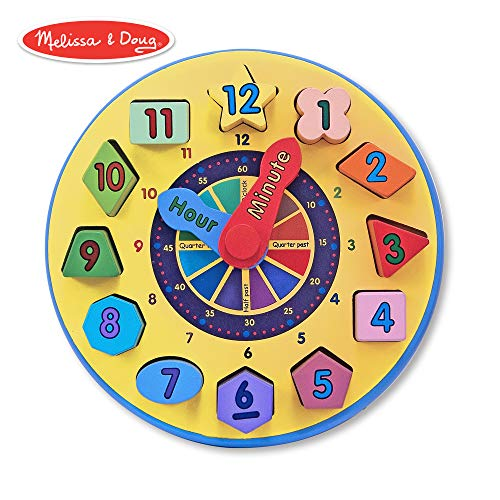 - Melissa & Doug Wooden Shape Sorting Clock Educational Toy