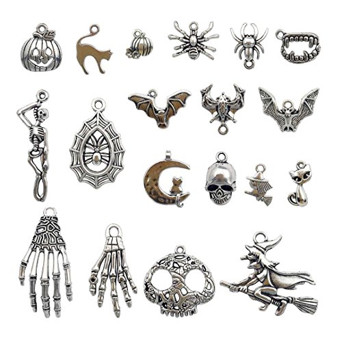 Halloween Charm-100g(about 55-60pcs) Antique Silver Halloween Collection Craft Supplies Charms Pendants for Crafting, Jewelry Findings Making Accessory For DIY Necklace Bracelet (Halloween Collection)]()