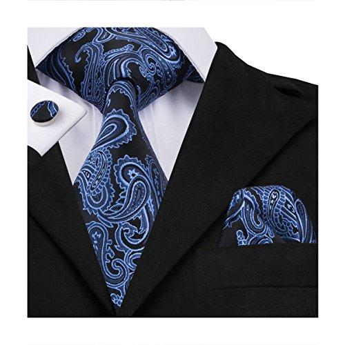Hi-Tie Mens Blue Black Paisley Woven Silk Tie Hanky Cufflinks set