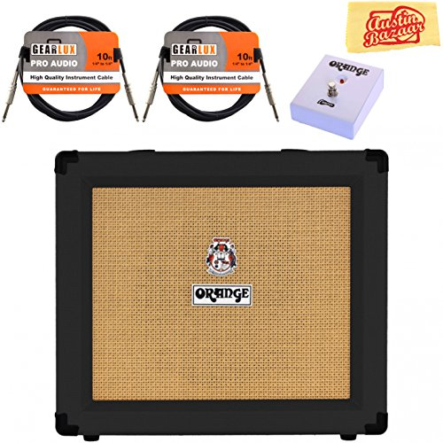 Orange Crush 35RT Guitar Combo Amplifier - Black Bundle with Orange FS-1 Footswitch, Instrument Cables, and Austin Bazaar Polishing Cloth