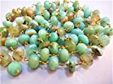 50 Feet Natural Peruvian Opal Faceted Rosary Style Beaded Chain - Beads Wire Wrapped Chain by LadoNarayani