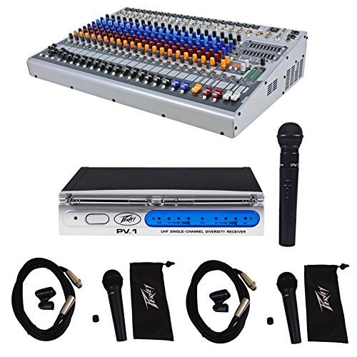 Peavey XR1220 20-Ch. Powered Console Mixer 2x600 Watt XR1220P + (3) Microphones by Peavey