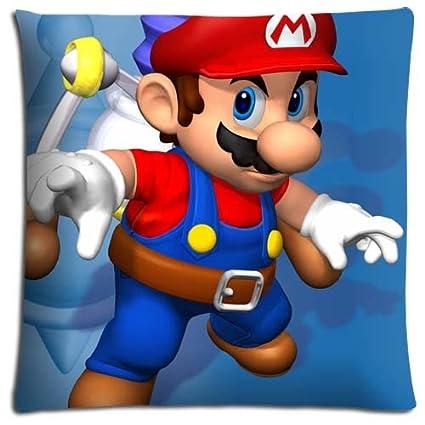 Super Mario ropa de cama fundas de almohada de colores poliéster y algodón comodidad con cremallera 18 x 18 (45 x 45 cm)