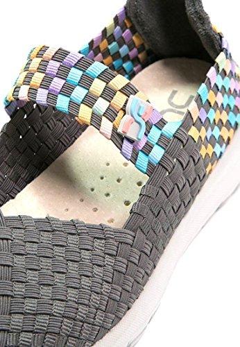 Hey Dude Tessa E-Last Charcoal Multi Mujeres Maria Janes Zapatos