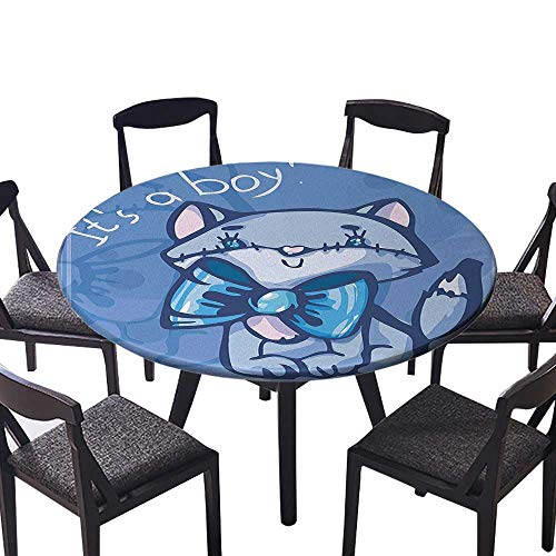 Round Premium Table Cloth Cute Kitty Bow Tie Its Boy Quote Baby Shower New Son Family Perfect for Indoor, Outdoor 40