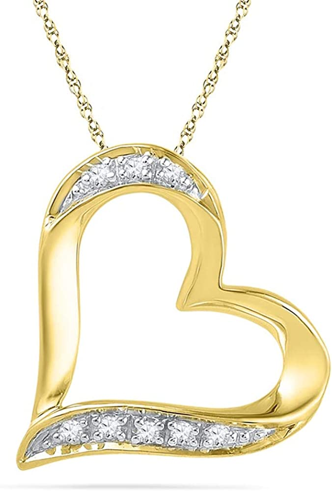 1//4Ct Round Cut Sim Clear Diamond Accent Tilted Heart Outline Pendant In 10K Yellow Gold Plated 925 Silver