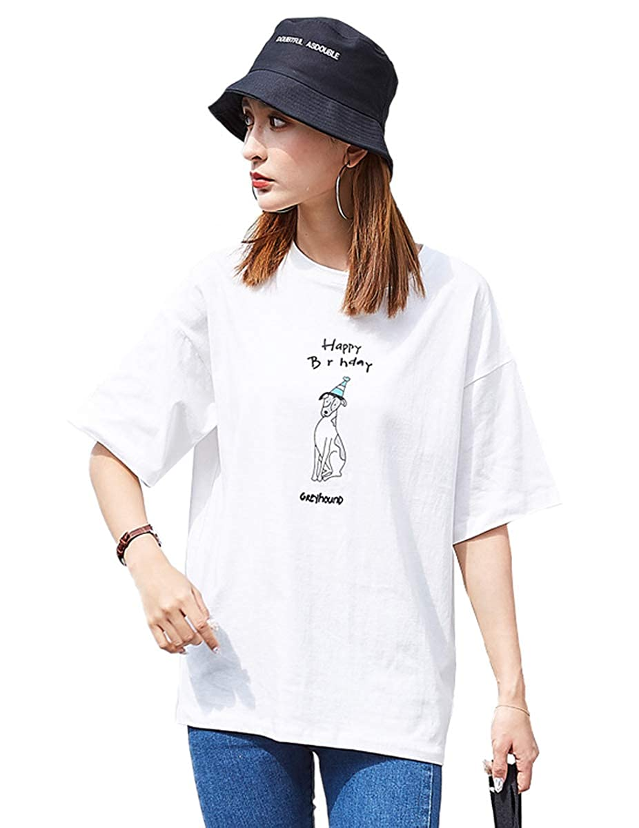Buy Fashion Sh Women S Girl Korean Short Sleeve Loose T Shirt Summer Printing Letter Casual T Shirt At Amazon In