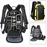 Abonnyc Camera Backpack Bag Case Oxford Hiking Bag Laptop Backpack for DSLR SLR Camera and 15 Inch Laptops with Waterproof Rain Cover, Yellow