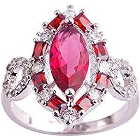 khamchanot Size 6 7 8 9 10 11 Ruby Spinel & Garnet & White Topaz Gemstone Silver Ring Bride (10)