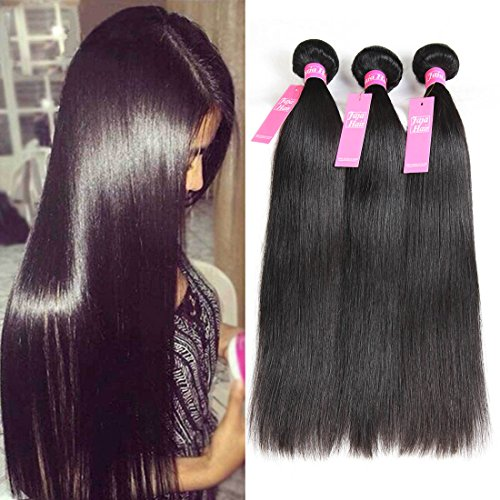 Jaja hair 8A Peruvian Virgin Hair Straight Hair 3 Bundles Deal 100% Unprocessed Silky Straight Human Hair Weave Weft Extensions Natural Color Can be Dyed 12 14 16 Inches