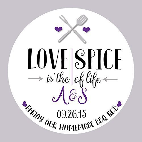 CUSTOM Love Is The Spice Of Life BBQ Rub Wedding Mason Jar Favor Labels