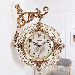 FortuneVin Wall Clock Silent movement Wall Clock Home Office Decor for Living Room Bedroom and Kitchen Clock Wall Two-Sided Creative Silent Both Modern Stylish Retro Quartz18In,B8218M Yellow