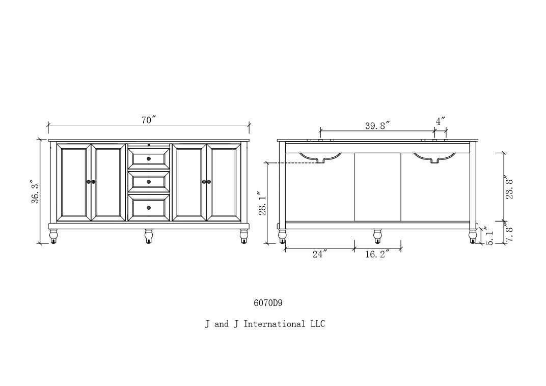 Direct Vanity Sink 6070D9-WTC-2M Classic 70 Pearl Double Vanity with White Carrara Marble Top and Mirrors