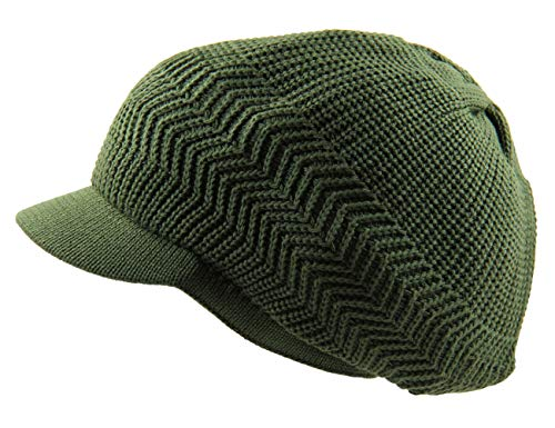 RW Knitted Cotton Rasta Slouchy Beanie Visor (Olive Green) ()