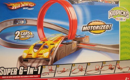 HOT WHEELS 'MOTORIZED' SUPER 6 in 1 CAR RACING TRACK Set w 2 CARS Kidspicks TOYS