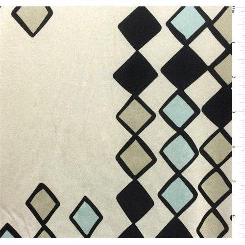 Mint Print Silk Jersey Knit, Fabric By the - Silk Jersey Knit Fabric