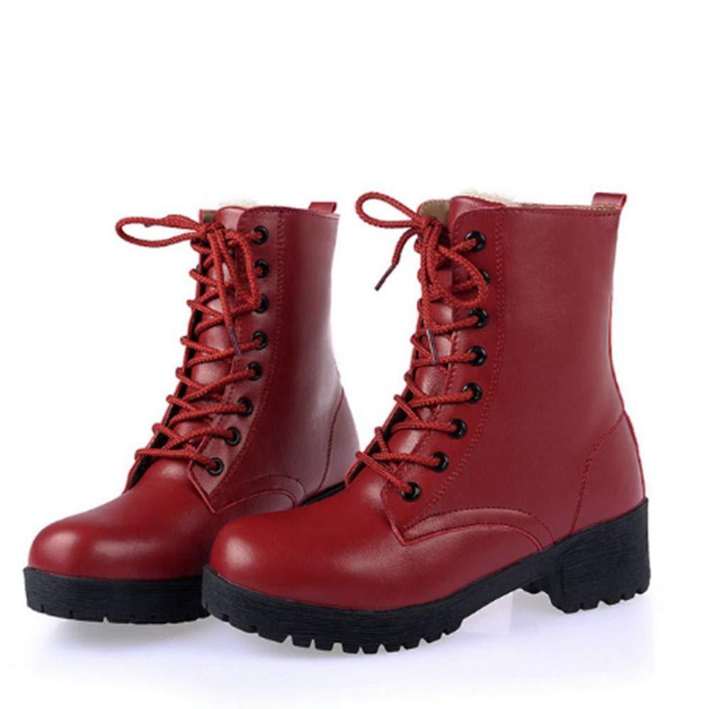 FMWLST Stiefel Stiefeletten Damen Damen Damen 5 cm Hohen Absatz PUschuhe Winter Damen Plüsch Flache Stiefel Damen ed8f1e