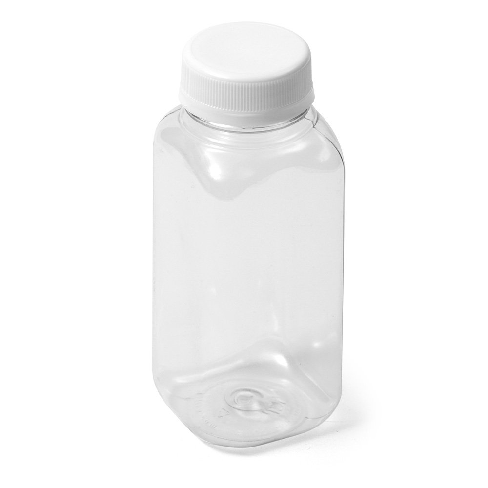 (16) Clear Square PET Bottle - 8 oz 19 g White Flat Cap