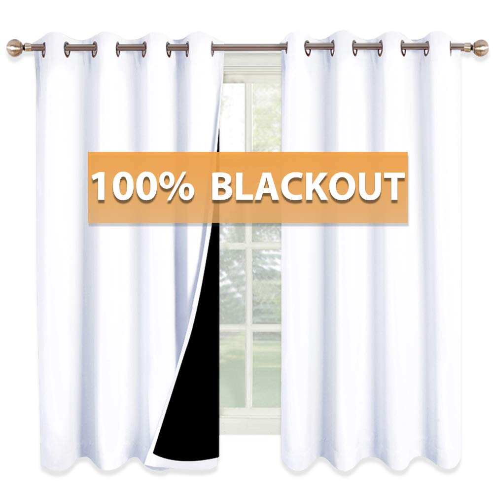RYB HOME White Curtains for Bedroom - Full Blackout Curtains with Black Liner Heavy Window Draperies, Noise Reducing 100% Room Darkening Panels for Living Room, Wide 52 x Long 63, Pure White, 2 Pcs