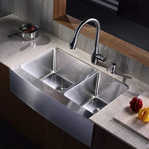 33 Farmhouse Apron Style Small Radius Corners Stainless Steel Kitchen Sink Double Bowl 60 40 Kar3321d Unicplus Tools Home Improvement Kitchen Bathroom Fixtures Urbytus Com