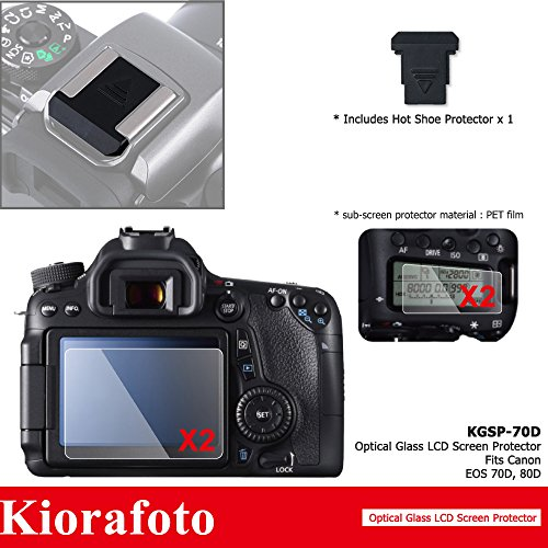 - Kiorafoto 2 Pack Optical Tempered Glass LCD Screen Protector + Sub-screen PET Film Protector+Hot Shoe Dustproof Cover Cap+Cleaning Cloth for Canon EOS 70D 80D Camera Screen Protector Basic Protection