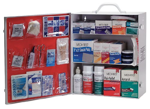 Medi First First Aid Kit  Cabinet  Steel Case Material  General Purpose  150 People Served Per Kit   1 Each