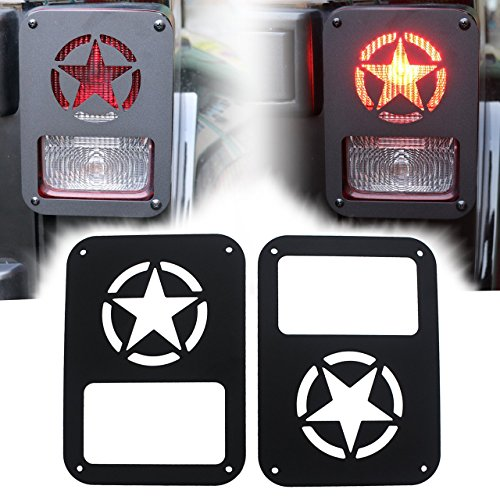 Iparts Stainless Steel Guard Light Kit for 2007-2017 Jeep Wrangler JK Pair (Black Stars)