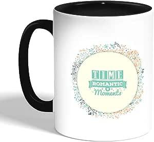 مج سيراميك للقهوة مطبوع عليه تايم رومانتيك، لون اسود (سيراميك)
