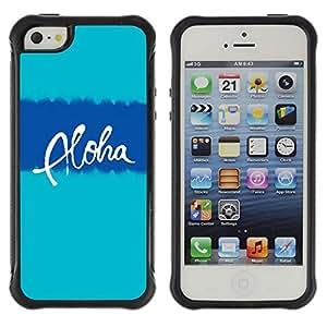 Suave TPU GEL Carcasa Funda Silicona Blando Estuche Caso de protección (para) Apple Iphone 5 / 5S / CECELL Phone case / / aloha Hawaii blue teal text vacation /