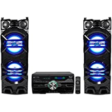 """(2) Technical Pro Dual 10"""" 1500w Speakers w/LED Lights + DVD Receiver Amplifier"""