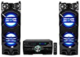 (2) Technical Pro Dual 10'' 1500w Speakers w/LED Lights + DVD Receiver Amplifier