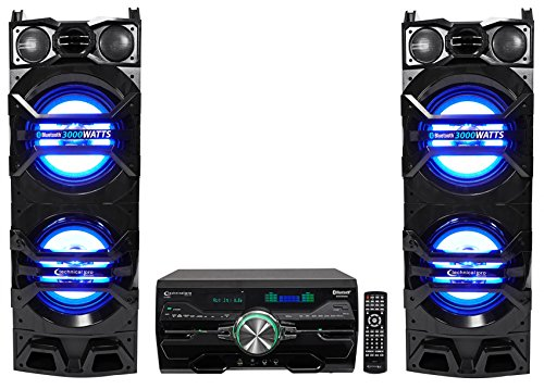 (2) Technical Pro Dual 10'' 1500w Speakers w/LED Lights + DVD Receiver Amplifier by Technical Pro
