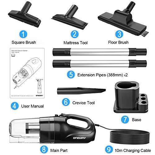 oneday Aspiradoras de Mano con Cable Aspirador Vertical con Cable Succión 15 KPA, Filtro HEPA, Cable de 10M