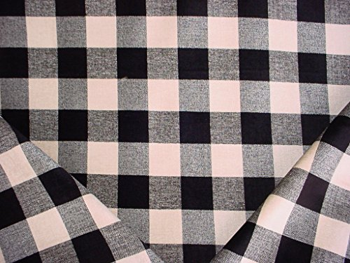 14RT17 - Jet Black / Cream Woven Picnic Check / Plaid Chenille Designer Upholstery Drapery Fabric - By the Yard