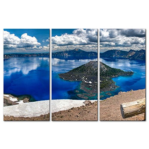 Panorama Landscape (Wall Art Decor Poster Painting On Canvas Print Pictures 3 Pieces Gorgeous Crater Lake On A Summer Day Oregon Panorama Landscape Mountain&Lake Framed Picture for Home Decoration Living Room Artwork)
