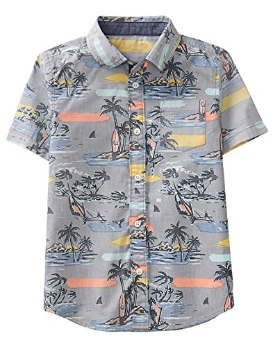 Gymboree Little Boys' Short Sleeve Button Down Woven Shirt, Slate Grey Island, (Gymboree Island)