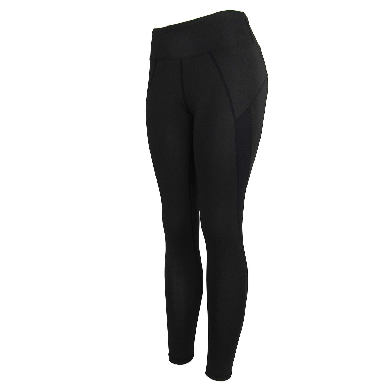 FCZDQ High Waist Out Pocket Yoga Pants Tummy Control Workout Running 4 Way Stretch Yoga Leggings Black