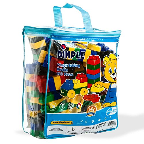 Dimple 150 Piece Soft Plastic Multi Colored Building Block Set with Wheeled Train Pieces and Carry Bag, Tons of Fun, Great for Kids & Toddlers