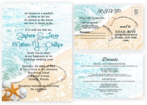 Beach Wedding Invitations and Response Cards Set of 30 by New York Invitations
