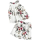 SheIn Women's Flower Print Sleeveless Halter Top and Shorts Outfits Set Medium White