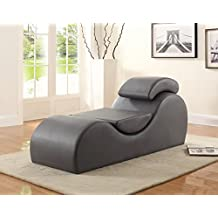 US Pride Furniture CL-15 Faux Leather Deluxe Stretch Chaise and Yoga Chair with Removable Pillows, Gray