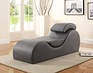 Container Furniture Direct Yoga Collection Modern Upholstered Faux Leather Stretch Relaxation Living Room Chaise, Grey (B01M00YU2G) | Amazon price tracker / tracking, Amazon price history charts, Amazon price watches, Amazon price drop alerts