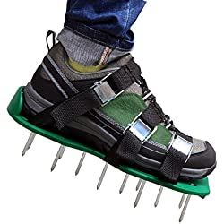 Antallcky Lawn Aerator Shoes,Updated Version Lawn Aerator Sandals, Heavy Duty Spike Shoes for grass with Heavy Duty Zinc Alloy Buckles- Free Size