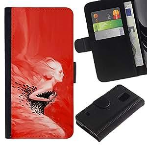 All Phone Most Case / Oferta Especial Cáscara Funda de cuero Monedero Cubierta de proteccion Caso / Wallet Case for Samsung Galaxy S5 V SM-G900 // Red Swan