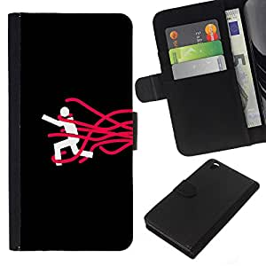 YiPhone /// Tirón de la caja Cartera de cuero con ranuras para tarjetas - Déjame ir - HTC DESIRE 816