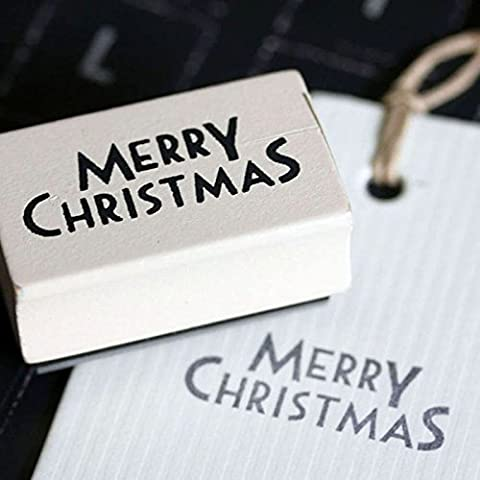 East of India Merry Christmas Rubber Stamp - Christmas Craft / DIY Gift Tags