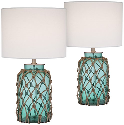Crosby Blue Glass Accent Bottle Table Lamp Set of 2