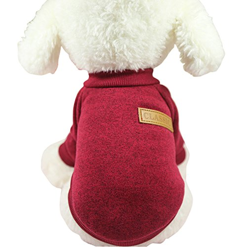CHBORLESS Pet Dog Classic Knitwear Sweater Warm Winter Puppy Pet Coat Soft Sweater Clothing for Small Dogs (XXS, Wine red)