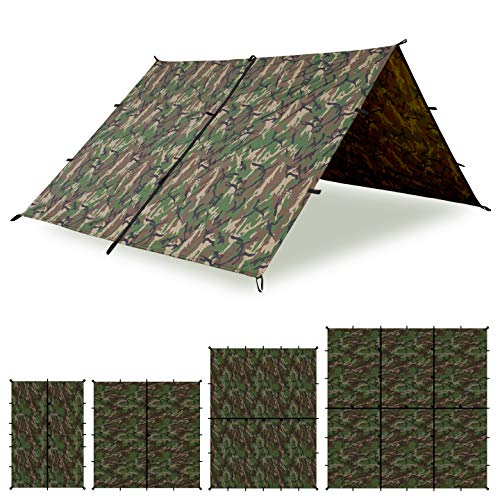 Aqua Quest Defender Tarp - 100% Waterproof Heavy Duty Nylon Bushcraft Survival Shelter - 10x10 Camo