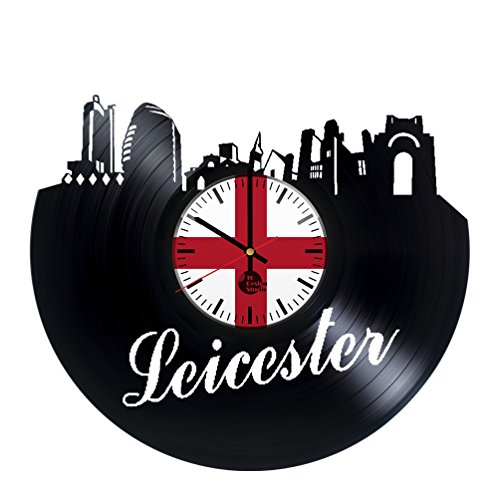 Leicester United Kingdom Vinyl Record Wall Clock - Get unique home room wall art decor - Gift ideas for his and her - Unique United Kingdom City Art - Leave us a feedback and win your custom clock